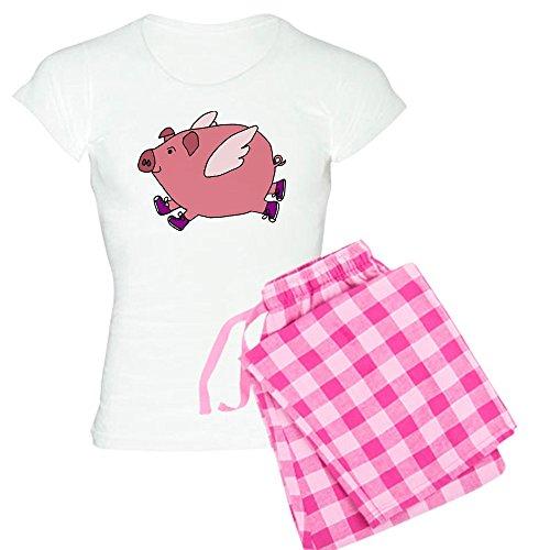 Pig Print (CafePress Flying Pig With Sneakers Pajamas - Womens Novelty Cotton Pajama Set, Comfortable PJ Sleepwear)