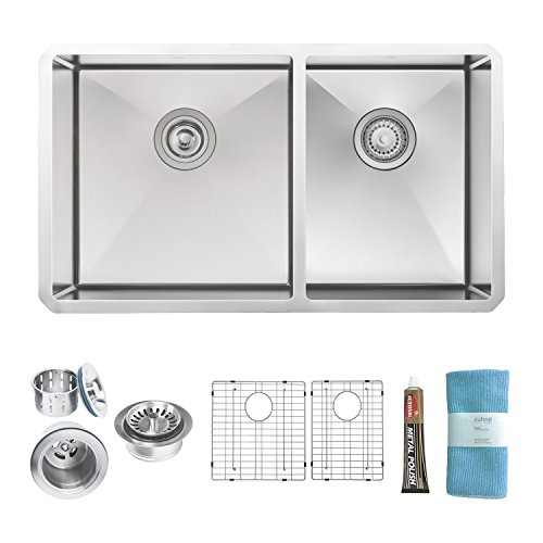 Undermount Stainless Steel Sink (Zuhne 32 Inch Undermount 60/40 Deep Double Bowl 16 Gauge Stainless Steel Modern Kitchen Sink)