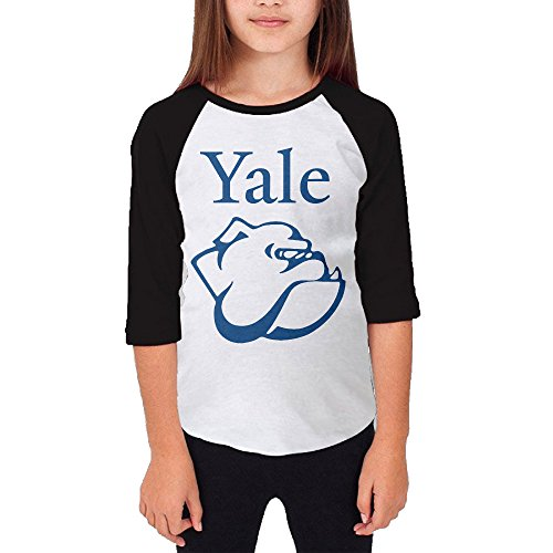 Price comparison product image Amone Young Girl 3/4 Sleeve Raglan Yale Logo University Tee Black L