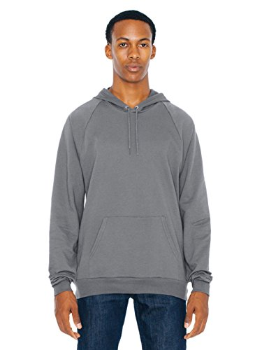 American Apparel Men California Fleece Pullover Hoodie Size L Asphalt