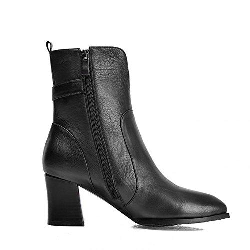 nbsp; laterale donne di scarpe verde ¬ pelle £ 34 tacchi stivali taglia £ nero alti fibbia ¬ cerniera militare 1q1wvUp