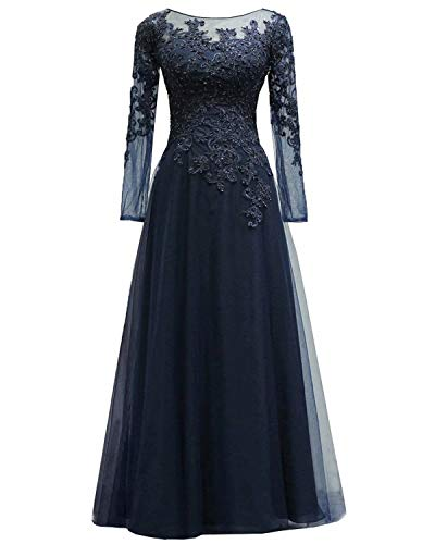 Women's Lace Appliques Mother of The Bride Dress Tulle Long Sleeves Evening Prom Gown BeadedNavy US4 ()