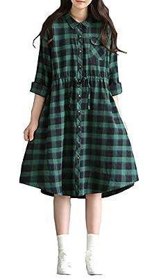 Plaid&Plain Women's Loose Fit Tunic Tops Cotton Linen Shirt Dress with Collar