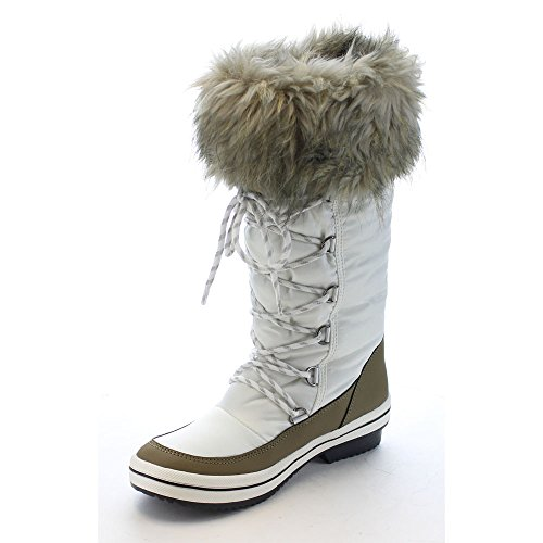Beston Reneeze Pammy-04 Mujeres Lace Up Impermeable Mediados De La Pantorrilla Botas De Nieve De Invierno Blanco