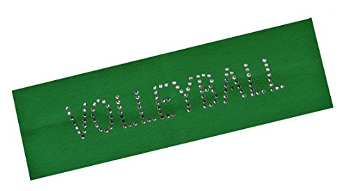 VOLLEYBALL Rhinestone Cotton Stretch Headband for Girls Teens and Adults - Volleyball team gift ~Funny Girl Designs (Kelly Green) Volley Green