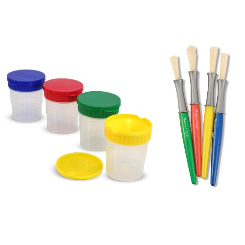 Spill Proof Paint Melissa & Doug Cups and Large Paintbrushes
