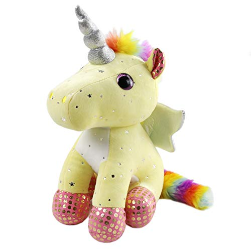 (Athoinsu Sparkling Unicorn Stuffed Animal with Rainbow Plush Fairy Silver Horn Toy Gift for Girls on Birthday Christmas Festivals, 12'' (Yellow))