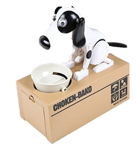 T2C Dog Piggy Coin Bank Choken Bako Toy Figure Money Box White and Black