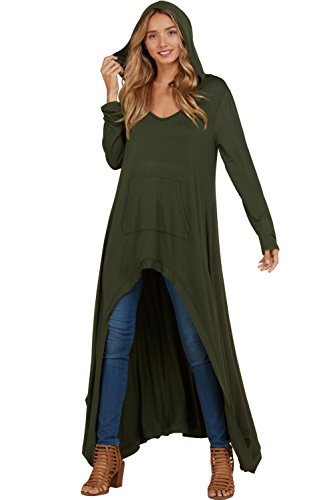 (Annabelle Women's Baby French Terry Print Hi-Lo Hooded Top Olive Small T1440)