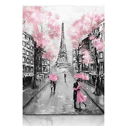Armko Canvas Wall Art Prints Lantern Paris European City France Eiffel Tower Black White Impressive Pink Modern Art Couple Under 12 x 16 Inches Wooden Framed Painting Home Decor Bedroom Office ()