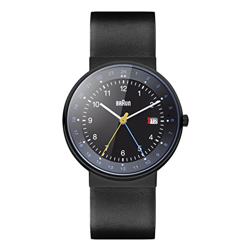 Braun Men's BN0142BKBKG GMT World Timer Analog Display Swiss Quartz Black Watch