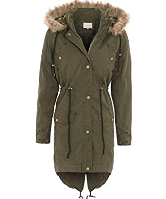 Parka coat with leopard print hood