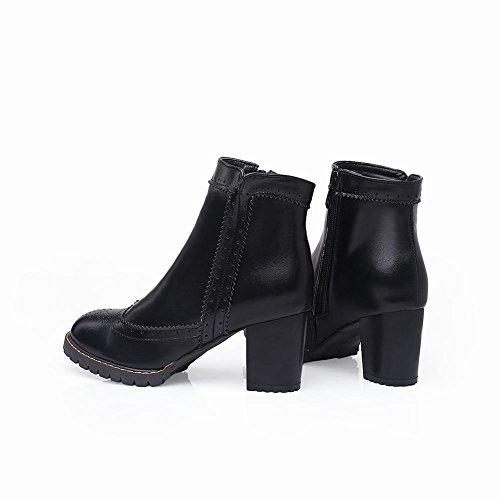 Mee Shoes Damen chunky heels Plateau Borte Ankle Boots Schwarz