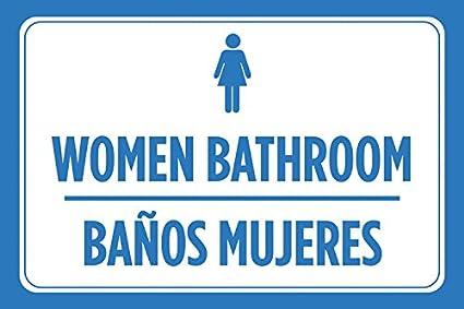 Las mujeres baño baños mujeres español impresión azul blanco ...
