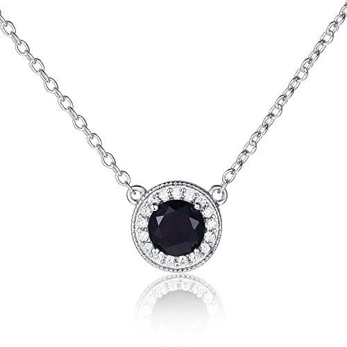 EL UNO 925 Sterling Silver September Birthstone Black Sapphire Pendant Round Cut Gemstone Necklace Halo CZ Women (Classic Round) ()