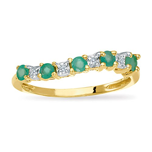 14k Yellow Gold Emerald and Di