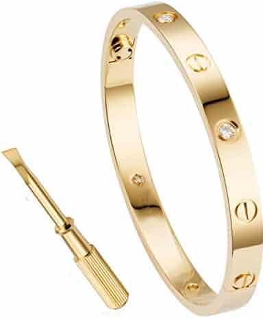 68a1bb1d937 QUEEN JULIA Gold Bracelets for Women Couples Bracelets Titanium Steel Love  Bracelet Buckle Pulseras de Mujer