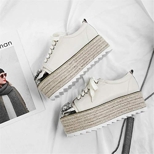 Cordones Para Redonda Moda Imitación Yan Zapatillas Zapatos Mujeres top De White white Bajo Plataforma Diamantes Cuero Caminar Zapatos Con Cabeza 37 Las gOWZnfAaO