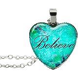 Blazing Autumn Spritial Words Jewelry/Heart Pendant/Necklace Women/Teens/Girls (Believe)