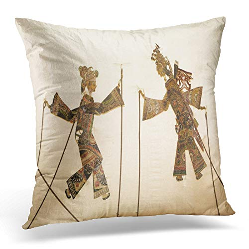 (Emvency Throw Pillow Cover Indonesia Puppet Figures of Shadow Play on Wall Show Decorative Pillow Case Home Decor Square 18