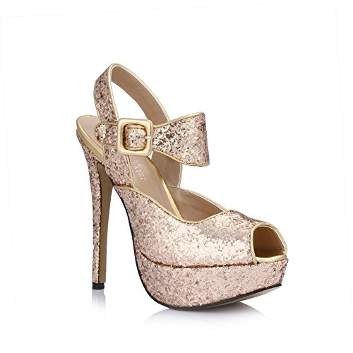 Platforms Rubber toe 4U Women's Buckle Pumps Sole 14CM Peep Best Summer Heels Glitter One Slingback High Sandals 3CM 7p1Owwq4