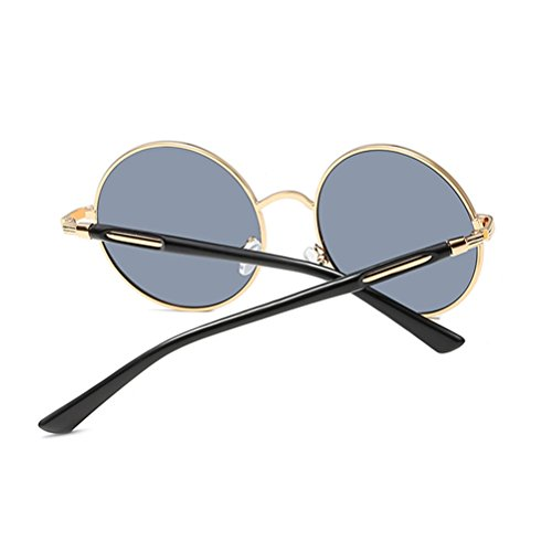 Zhuhaitf estuche for Polarized Oversized Mens Con de Gold Frames Unisex Fashionable gafas amp;gray Sunglasses Womens Round Mirror Design qwxqfrFg