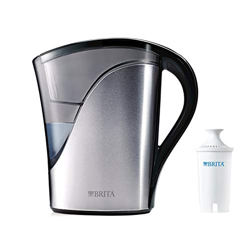 Brita Medium 8 Cup Water Filter Pitcher with 1 Standard Filter, BPA Free – Stainless - Brita Replacement Lid