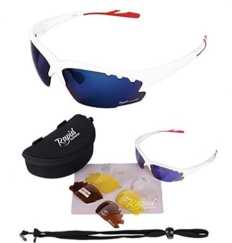 Rapid Eyewear GAFAS DE SOL CICLISMO Y CORRER BLANCAS Breeze Cycle para hombre y mujer. lentes intercambiables POLARIZADOS y transparentes. Ideales ...