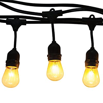 Generalight Advanced Weatherproof Technology Indoor/Outdoor String Lights-Street & Area Commercial Grade Lighting-48 Feet-15 S14 Style Incandescent Blubs-Heavy Duty-Black-UL Listed