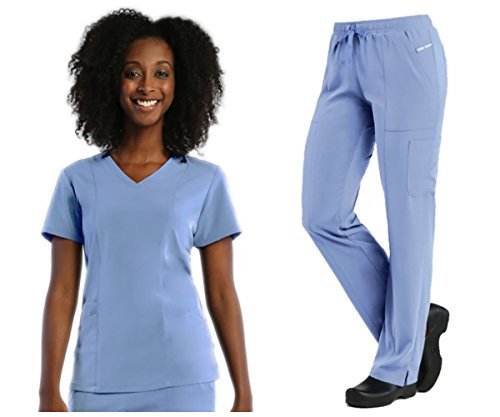 Maevn Pure Soft Ladies 3-Panel V-Neck Top & Relaxed-Fit Elastic Drawstring Cargo Pant Scrub Set (Small Petite, Ceil Blue)