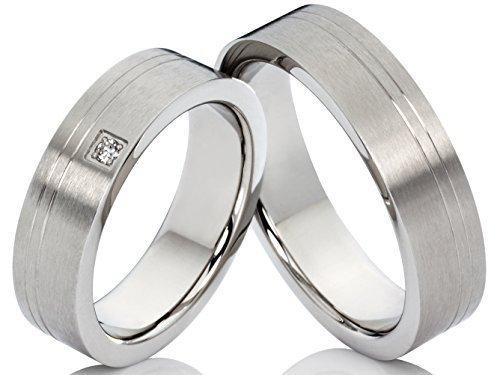 2alianzas Trau anillos anillos de compromiso de acero inoxidable kristallmatt con 1circonita en anillo para mujer