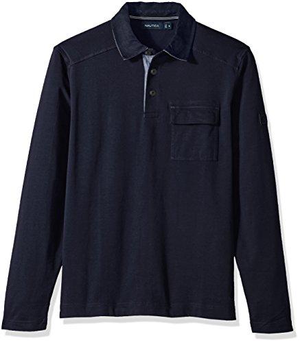 Nautica Mens Long Sleeve Heavy Weight Jersey Polo Shirt Chest Pocket