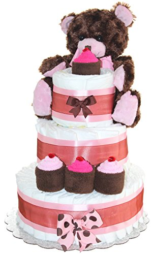 Newborn Diaper Cake 3 Tier- Brown Teddy Bear Classic Diaper Cake/ Baby Girl Gift (Brown-Pink) from QBabyShowering