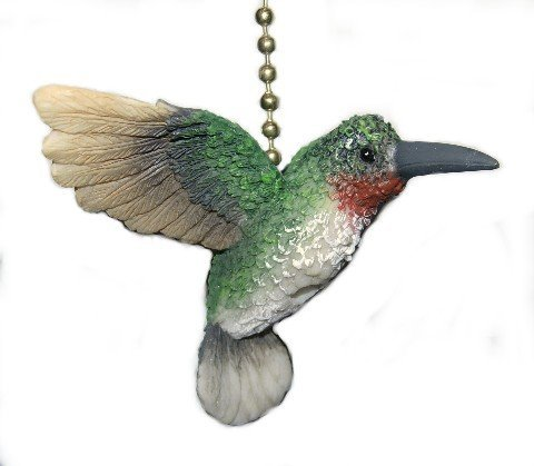 Garden Hummingbird Bird Porch Deck Ceiling Fan or Light Pull Three Dimensional by Clementine Designs