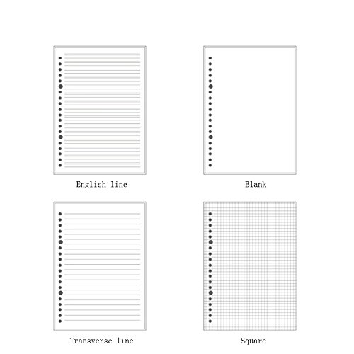 JUNDA Refill Papers,A5 Size 20 Holes Grid Creamy White Paper for Loose Leaf Binder Notebook,60 Sheets/Set,3 Sets by JUNDA (Image #1)