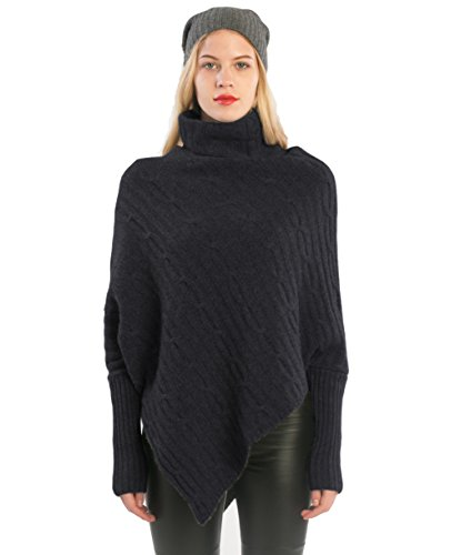 Ribbed Turtleneck Poncho - cashmere 4 U 100% Cashmere Poncho Thick Cable Knit Turtleneck Open Side Sweater For Women by (Charcoal)
