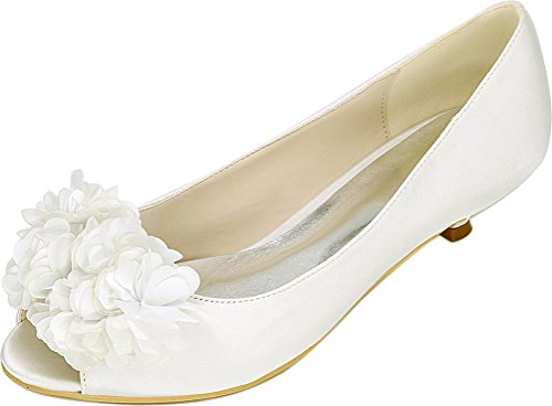 Salabobo 0700-01H Ladies Smart Fashion Flower Bride Bridesmaid Party Prom Wedding Dress Work Peep Toe Comfort Low Heel Satin Sandals Ivory 3EUgU7S