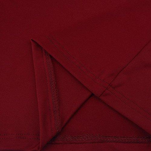Unie Amuster Blouse Couleur Rouge shirt En Femmes Longues Sexy Haut La Profonde Des Col Trompette De Lâche Manches V Mode À Chemise wqnRwrXY