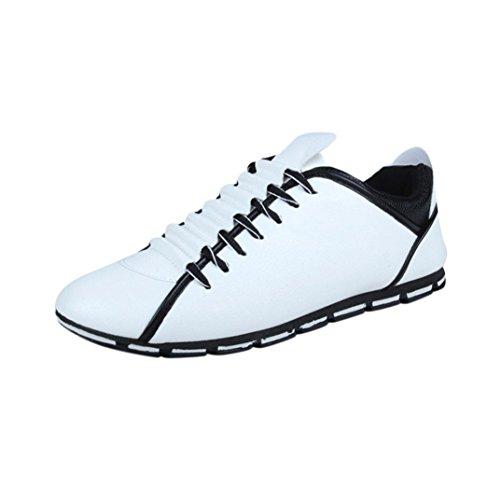 Männer flache Schuhe, Sukeq New Fashion Herren PU-Leder lässig atmungsaktiv Schnürschuhe Slipper Loafers Weiß