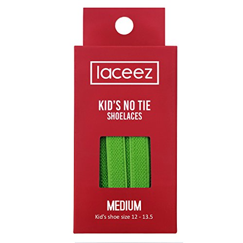 Laceez Kids No Tie Shoelaces - Green (Med: Kids Shoe 12 to 13) Flat Elastic Laces by the Size - Best No Tie Shoelace in Quality and Style - For Casual Athletic Lifestyle Shoes - Kids Sneakers
