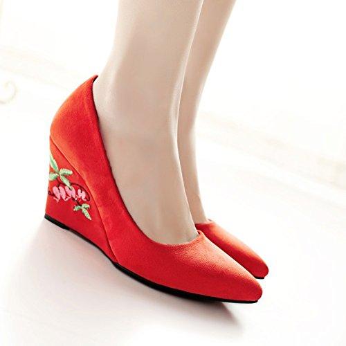 Aisun Damen Spitze Zehen Low Top Keilabsatz Blumen Stickerei Pumps Für Arbeit Rot