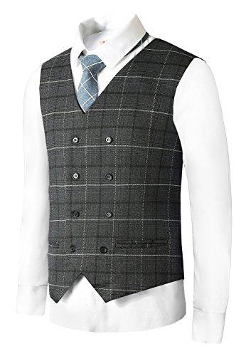 Button Only Vest (Hanayome Men's Bozzy Grey plaid Slim Fit Shaped Gilet Suit Vest 2017 New Waistcoat,Grey 1,L(US Tag Chest 44