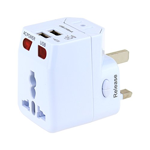 Universal Travel Adapter Wonplug World Travel Adapter Kit Dual USB Ports-UK,US,AU,Europe Plug Adapter-Over 150 Countries& Worldwide USB Power Adapter for Travel Accessories ( White (Adaptor Plug Kit)