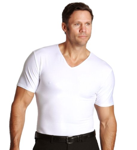 Insta Slim White V-Neck Men's Firming Compression Under Shirt (Medium)