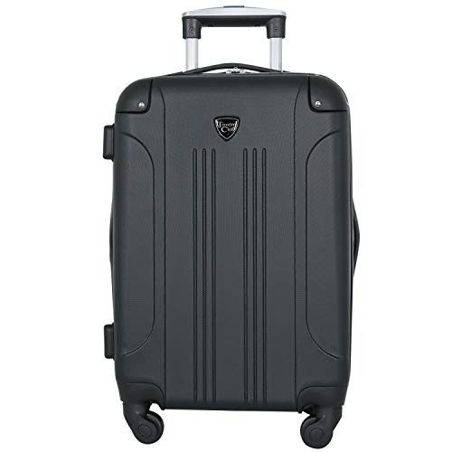 "Travelers Club Luggage Chicago 20"" Hardside Expandable Carry-on Spinner, Black"
