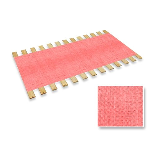 The Furniture Cove New Twin Size Custom Width Bed Slats with a Pink Burlap Fabric Roll - Choose your needed size - Eliminates the need for a link spring or box spring!
