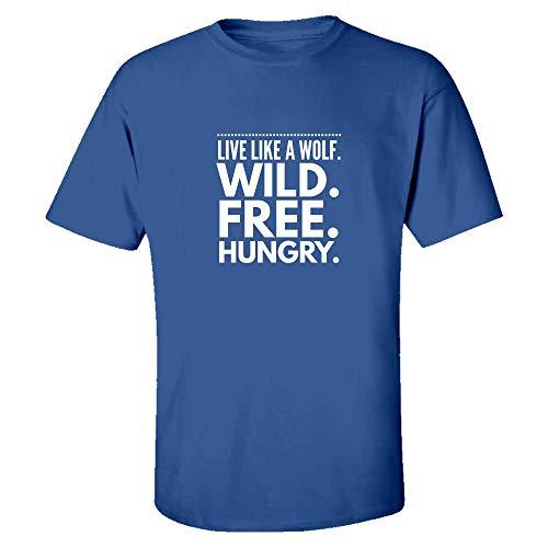 Kids T-Shirts Wolf - Live Like A Wild. Free. Hungry. - Canine Theme Gift Royal Blue -