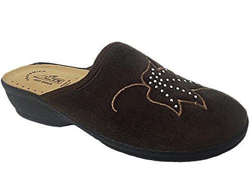 Ladies Helen Comfort Warm Velour House Slip On Wedge Mules Slippers Shoe Size 3-8 Marrone T80vsEYpq