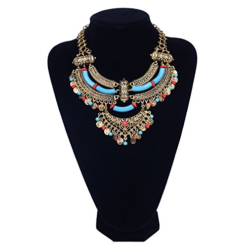 Paxuan Womens Antique Silver/Gold Alloy Vintage Boho Bohemia Turquoise Necklace Ethnic Tribal Beaded Coin Choker Necklace Chunky Statement Necklace (Antique Gold) -