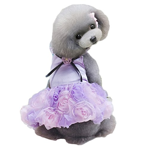 S-Lifeeling Roses Dress Pet Costumes Sweet Shirts Spring Summer Teddy Dog -